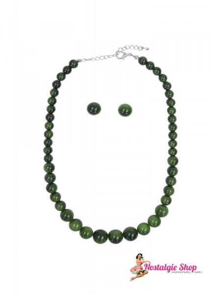 Perlenketten Set von Collectif - dunkelgrün