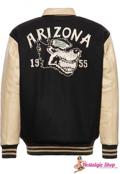 KK Arizona Wolves Baseballjacke Collegejacke Echtleder