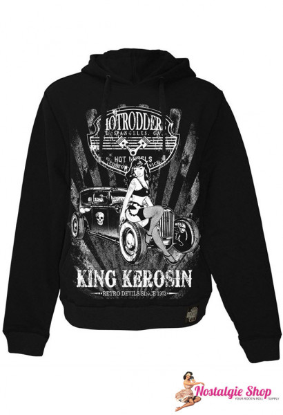 Hot Rodder Hoodie von King Kerosin in schwarz mit plakativem