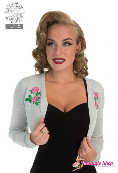 Bolero Centifolia Rose - grau mit Blumenstickerei