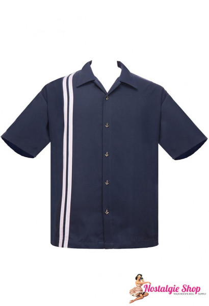 Steady Bowling Shirt - V8 Racer dunkelblau