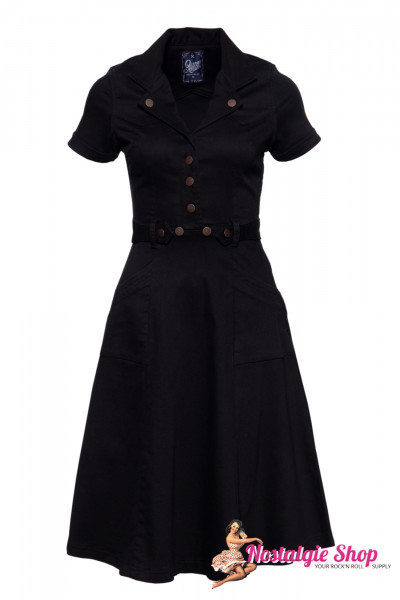 Queen Kerosin Denim Workwear Swingkleid - schwarz