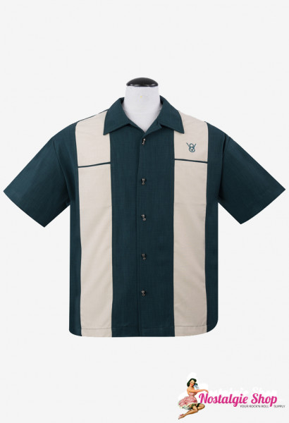 Steady Bowling Shirt - Classic Piston Petrol / Teal