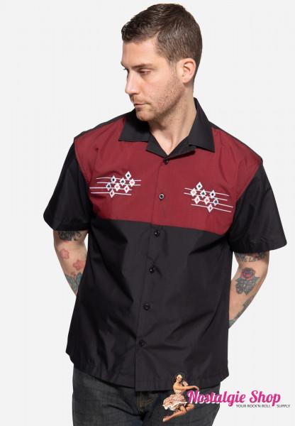 "King Kerosin Loungehemd Hemd ""Playcard Squares"" - schwarz/rot"
