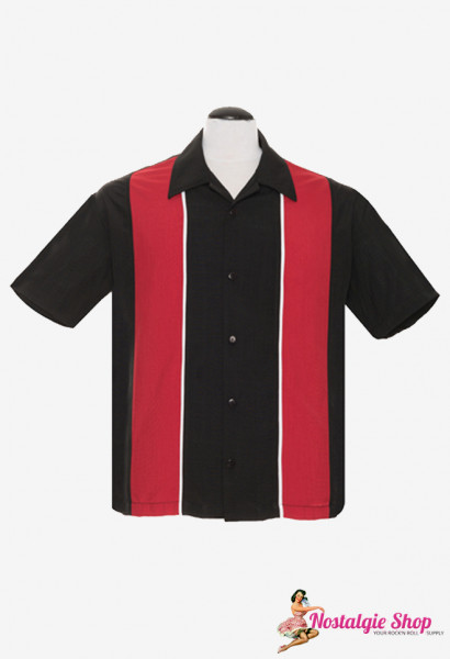 Steady Retro Bowling Shirt - Chrome Pleated schwarz/rot