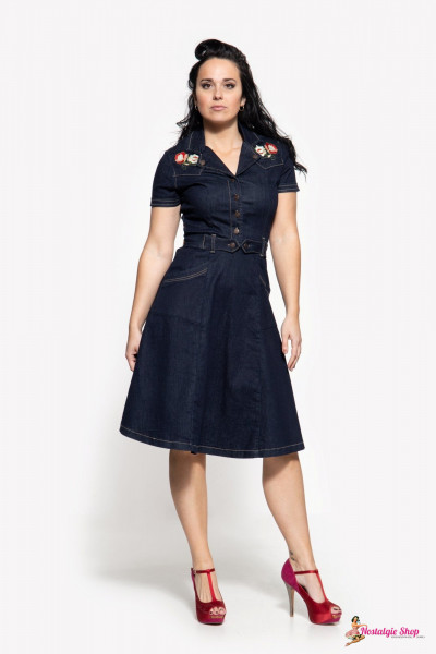 Queen Kerosin 50er Jahre Denim Swingkleid - dark blue mit Stickerei