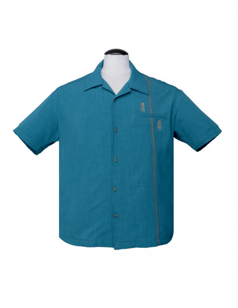 Steady Clothing Bowling Shirt Tiki Retro Stitch Teal