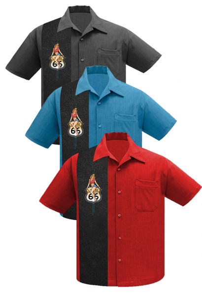 Steady Bowling Shirt Route 66 Pin-Up - grau, rot oder blau