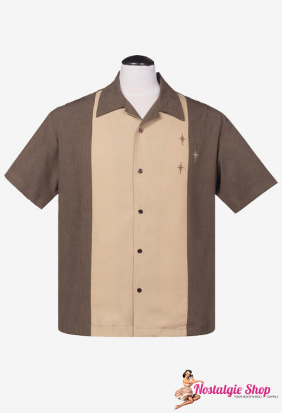 Steady Bowling Shirt - Crosshatch Coffee