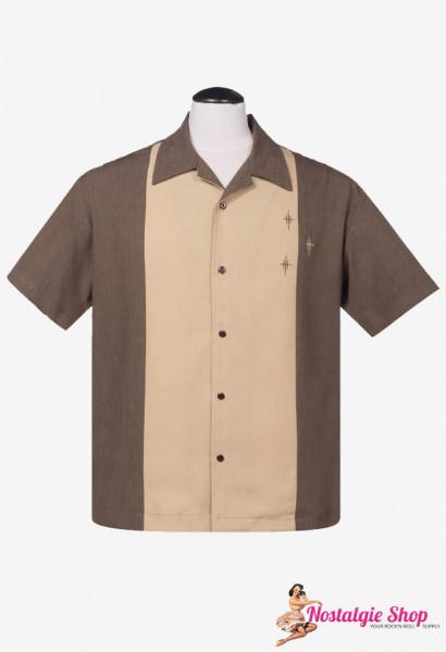 Steady Bowling Shirt - Crosshatch Coffee