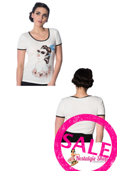 """Dancing Days by Banned Damen T-Shirt """"1950s Pin Up with Sunglasses""""- offwhite"""