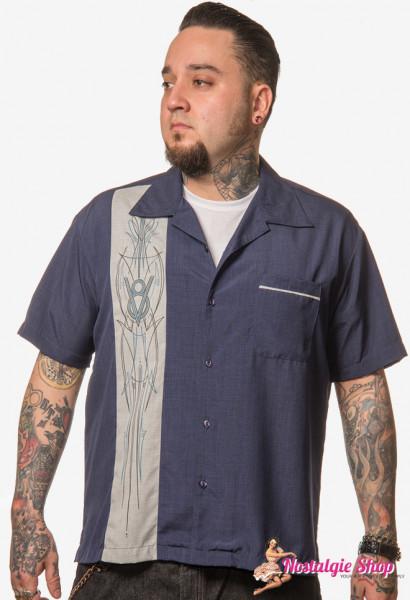 Steady Bowling Shirt - V8 Pinstripe blau