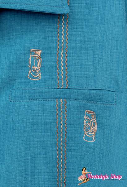 Steady Clothing Bowling Shirt Tiki Retro Stitch Teal