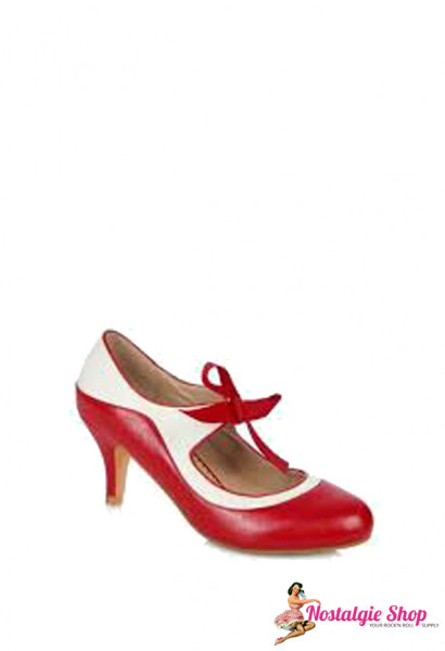 Jeanie Pumps - rot weiß