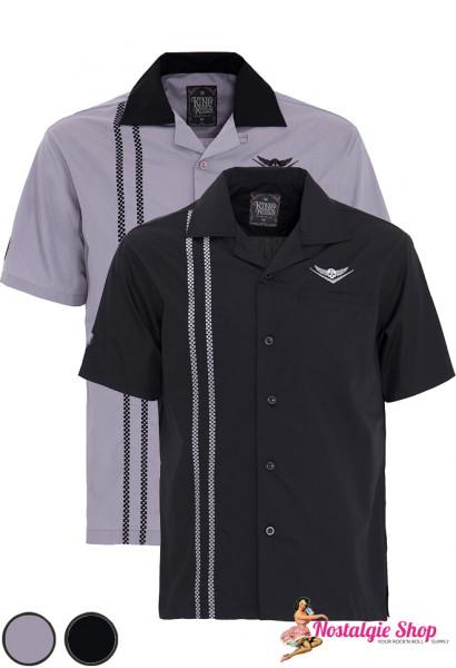 King Kerosin Bowling Shirt - V8 Skull grau oder schwarz
