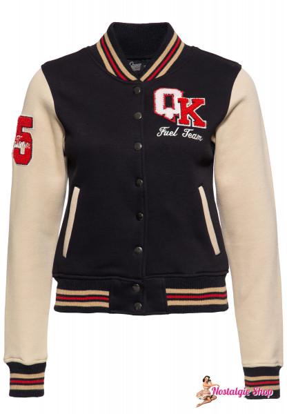 "Queen Kerosin College Sweaterjacke ""Planetary Fuel"" - schwarz/ecru"