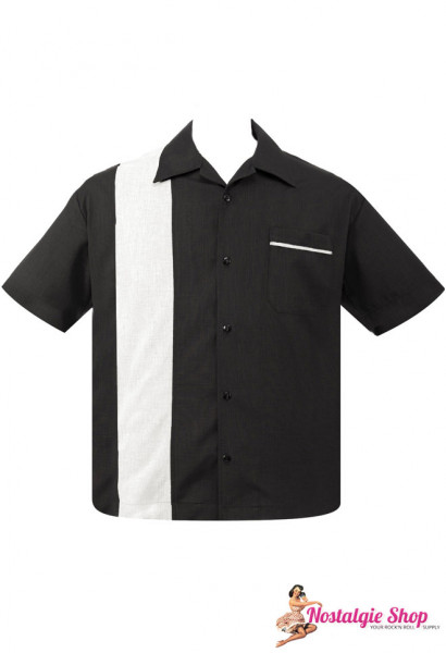 Steady Retro Bowling Shirt - Pop Check Single Panel schwarz