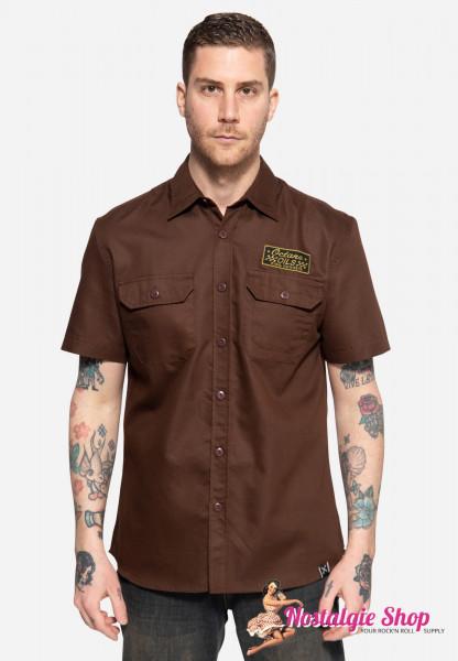 """King Kerosin Workwear Hemd """"Octane Oils"""" - kurzarm, dunkelbraun"""