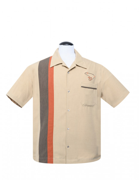 Steady Retro Bowling Shirt The Boomer Tan