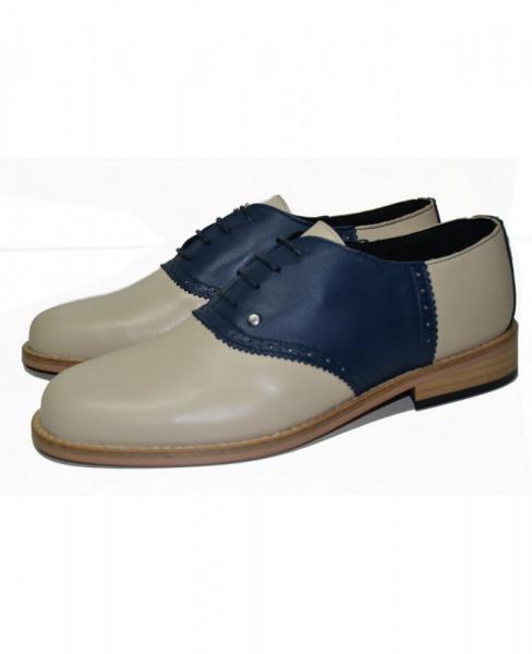 Steelground Bowling Schuhe Navy/Beige genähte Sohle
