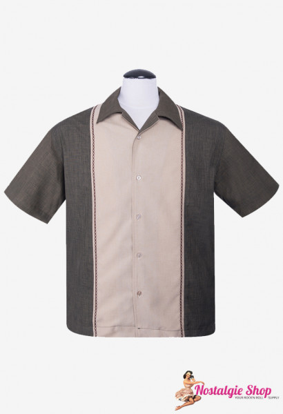 Steady Bowling Shirt - Diamond Stitch oliv