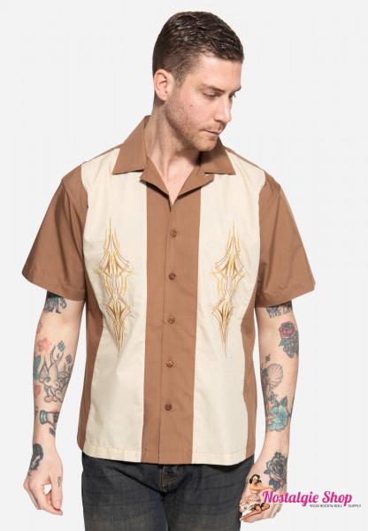 "King Kerosin Loungehemd ""Pinstripes"" - braun/ beige"