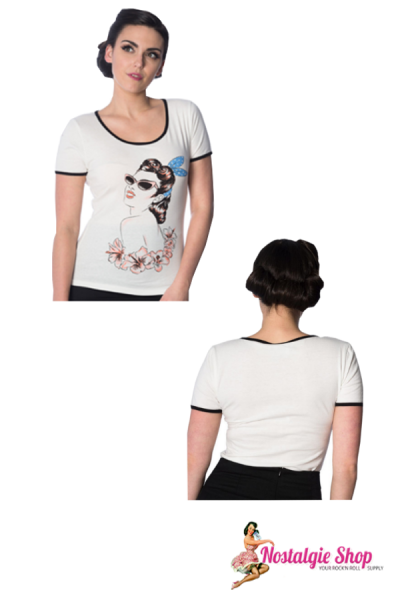 "Dancing Days by Banned Damen T-Shirt ""1950s Pin Up with Sunglasses""- offwhite"
