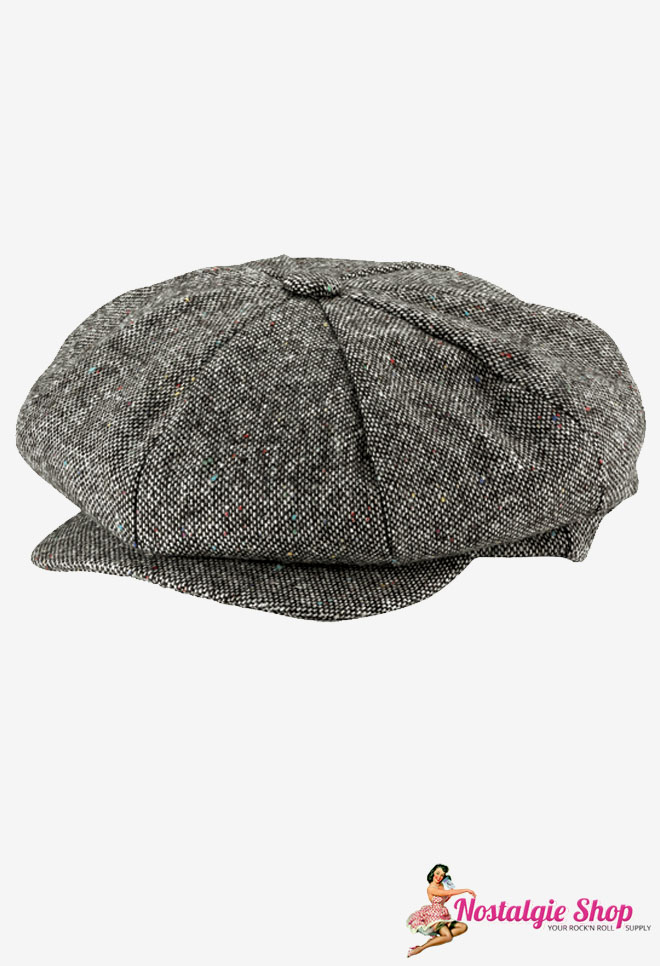 New York Hat Co. Newsboy Cap Salt & Pepper grau