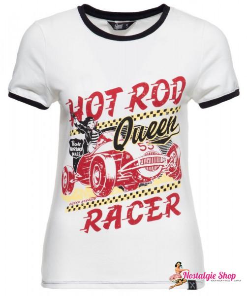 """Queen Kerosin Damen T-Shirt """"Hot Rod Racer"""" - offwhite"""