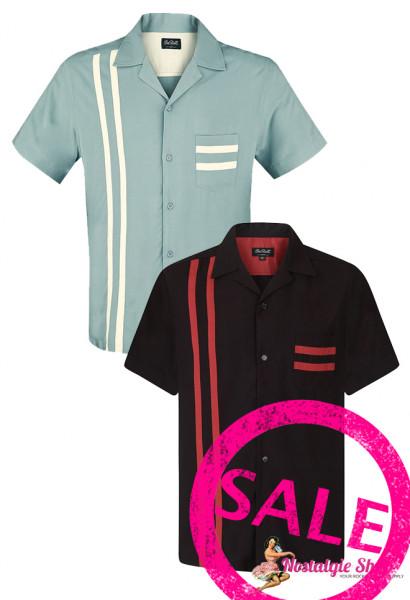 Chet Rock Bowling Shirt Lucky Stripe - schwarz/rot und dusty mint/creme