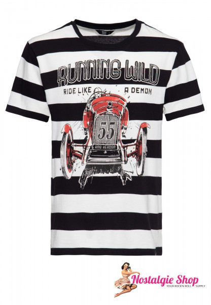 "King Kerosin T-Shirt ""Running Wild"" - off-white/schwarz gestreift"