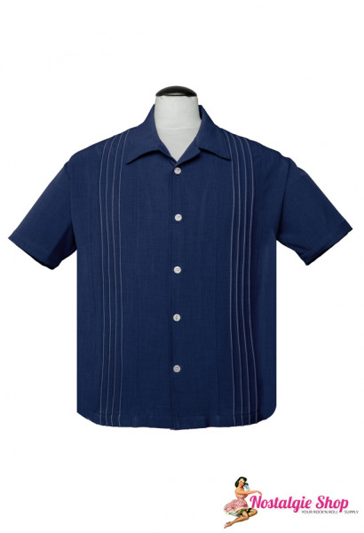 Steady Retro Bowling Shirt - The Otis Navy
