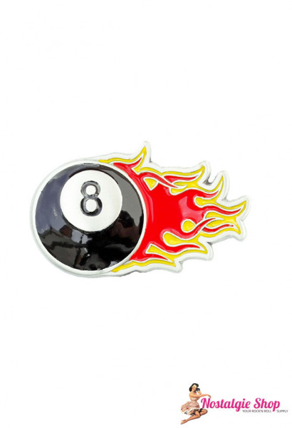 Running Bear Buckle - 8 Ball on Fire Rockabilly Gürtelschnalle