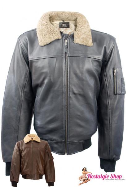 Aviator Lederjacke mit abnehmbarem Lammfellkragen - braun oder schwarz