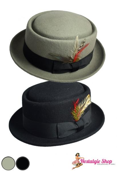 Maz Accessoires Oldstyle Porkpie Hut - grau oder schwarz