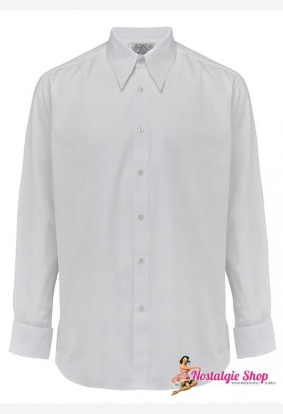 40er Jahre Herrenhemd - weiß mit Manschettenknöpfe