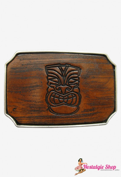 Rock cat Roll Buckle Leder - Tiki Face