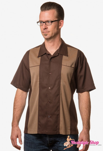 Bowling Shirt - Houndstooth Panel
