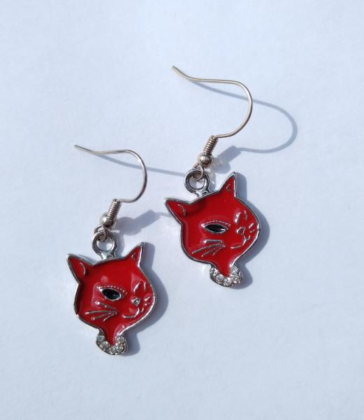 Ohrringe Katze - rot oder weiß