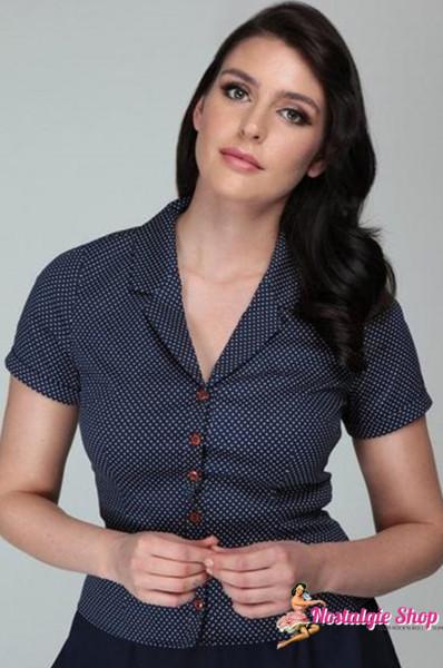 Collectif Caterina Mini Polka Dot Bluse