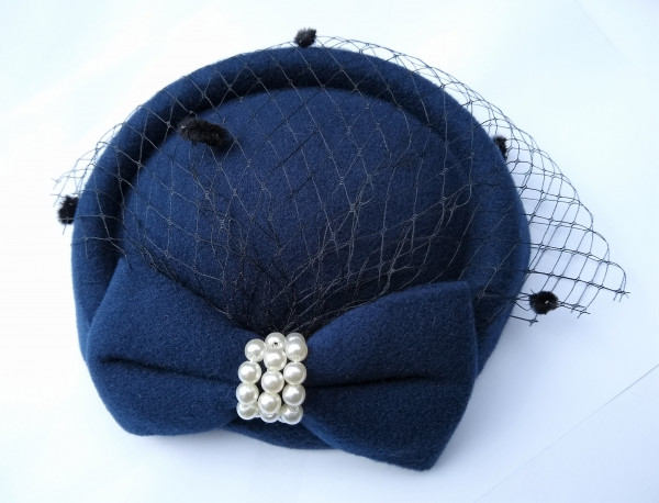 Fascinator Perlen - blau