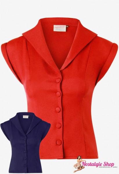 Retro Bluse - rot oder blau
